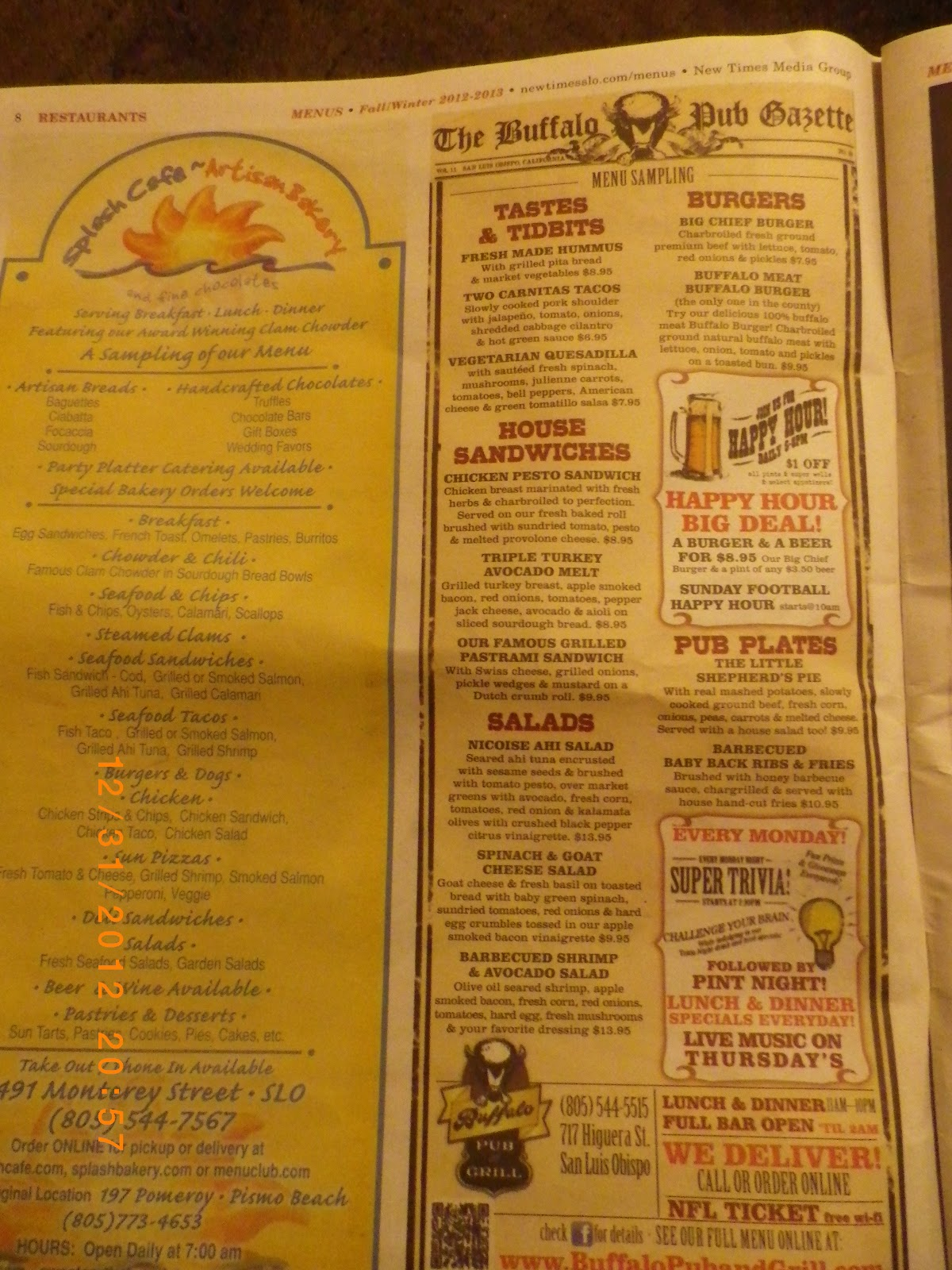 Vc menu buffalo bar and grill san luis obispo ca - Menu buffalo grill tarif ...