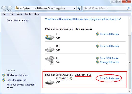 Fungsi BitLocker To Go