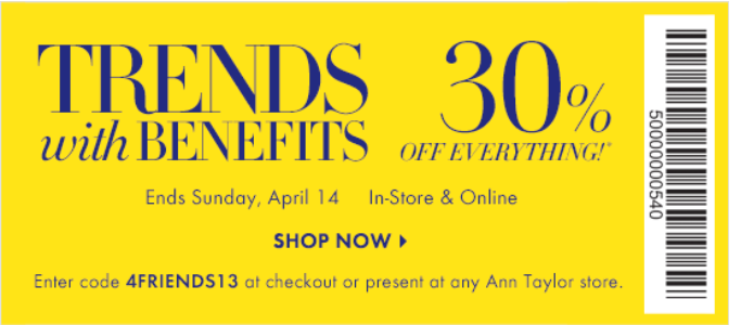photograph relating to Anne Taylor Loft Printable Coupons known as Ann taylor coupon codes printable