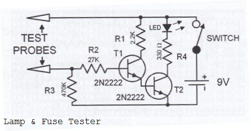 lamp fuse tester circuit diagram