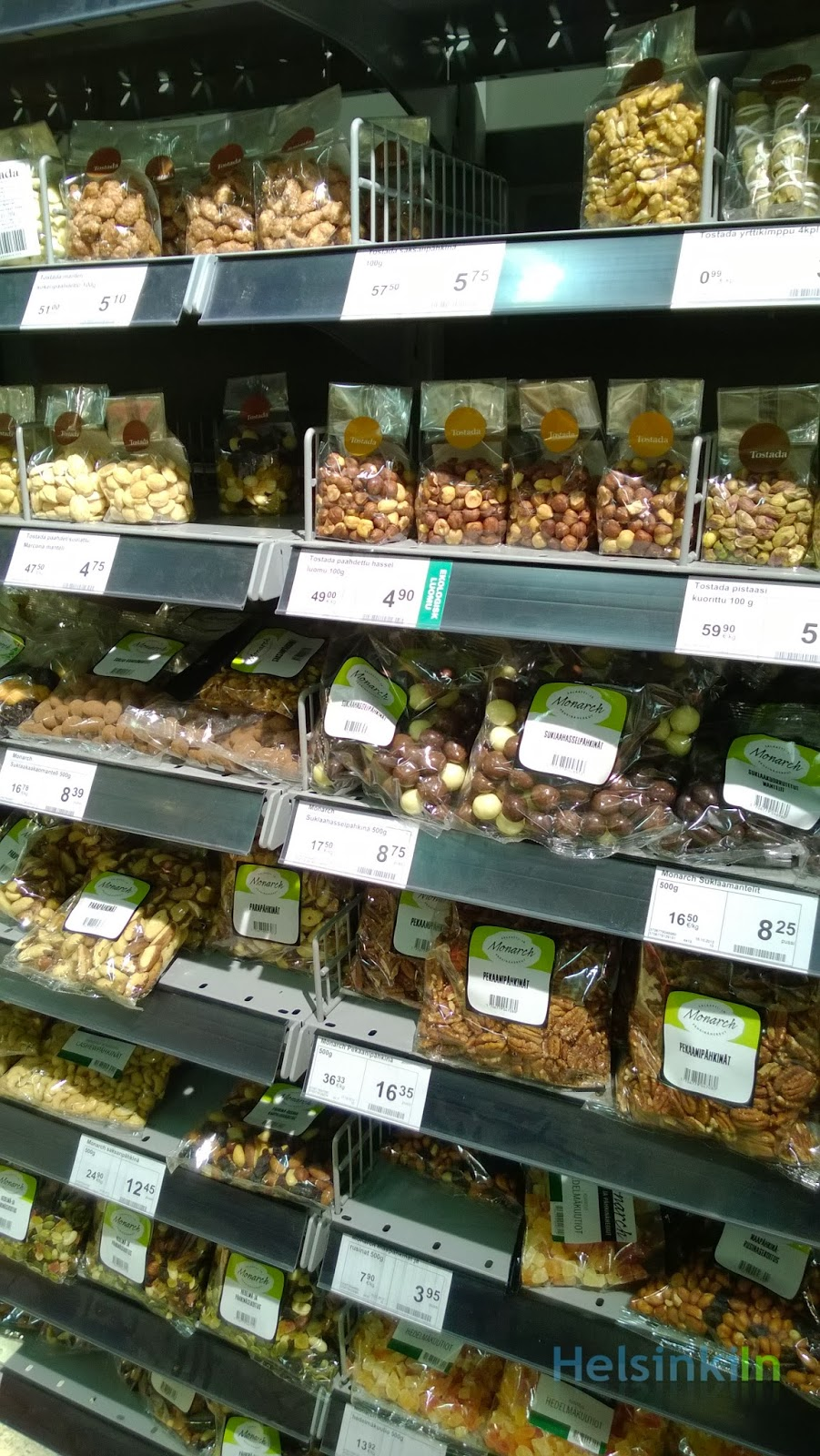 nut shelf in Finnish supermarket
