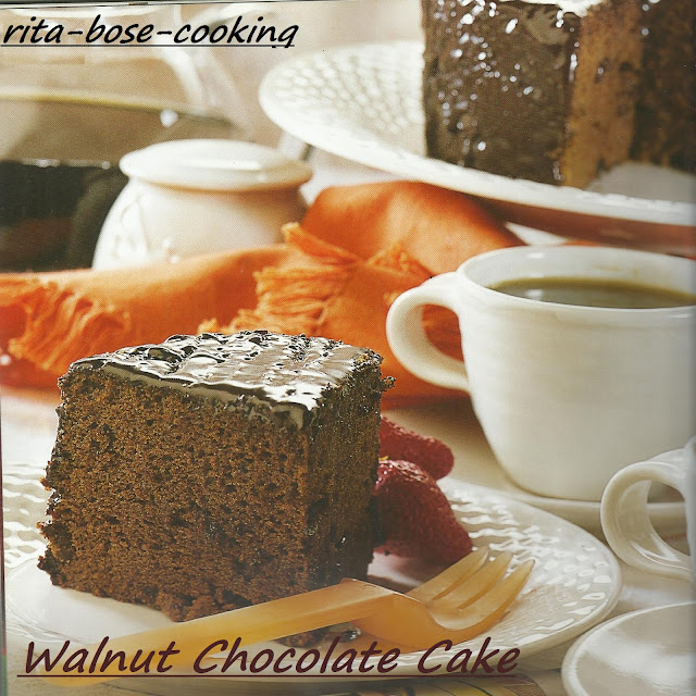 Microwaved Walnut Chocolate Cake
