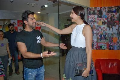 Sonam and Ayushmann promote Bewakoofiyaan at Fever 104 FM Radio
