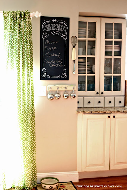 Menu Chalkboard and white hutch cabinet -www.goldenboysandme.com