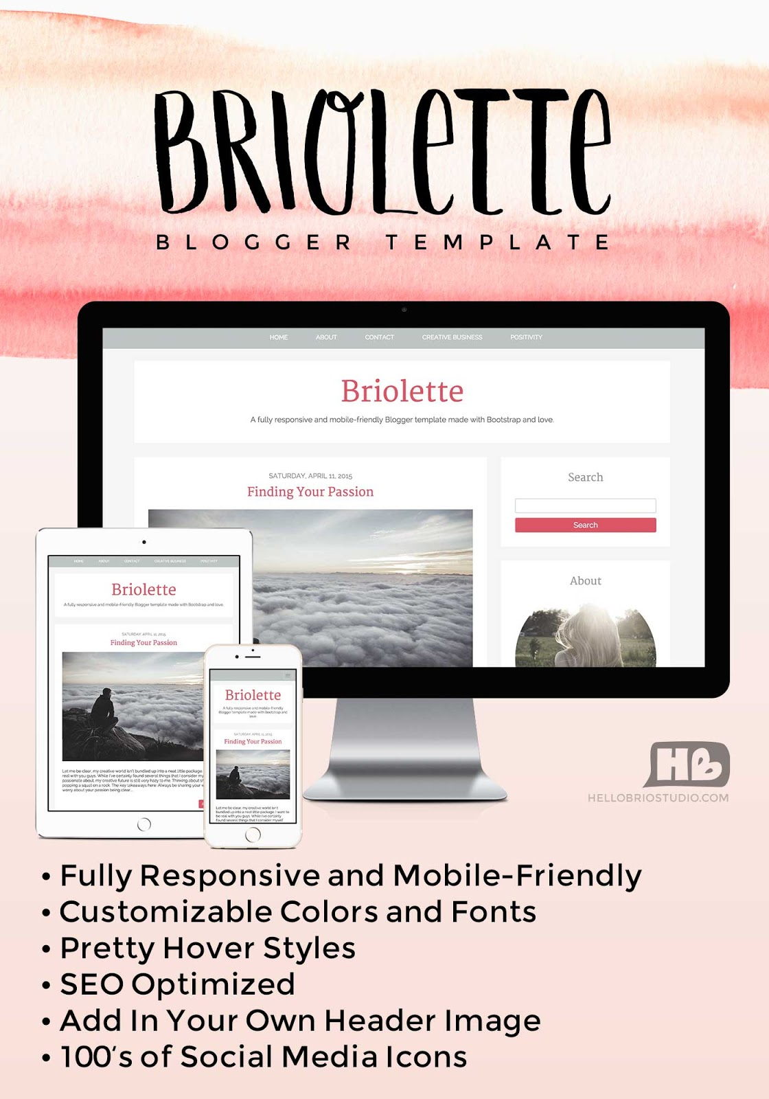 Briolette Blogger Template - Responsive and Customizable design built by Jennifer Coyle at Hello Brio Studio available for purchase on Creative Market and Etsy