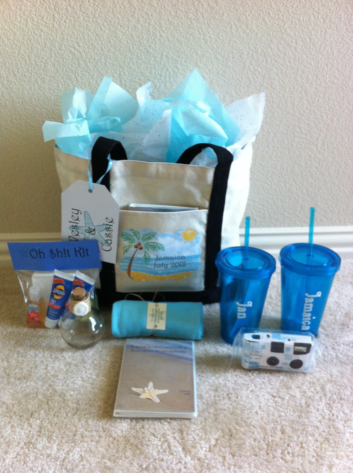 Wedding Gift Bag Suggestions : Here are the bags ready to go to all of my guests in Jamaica! I didnt ...