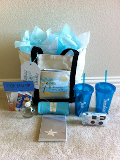 Beach Wedding Gift Bag Ideas : Here are the bags ready to go to all of my guests in Jamaica! I didnt ...