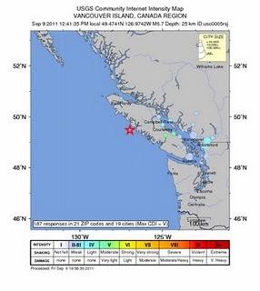 sismo 6,7 grados Vancouver, Canada 9 de septiembre de 2011
