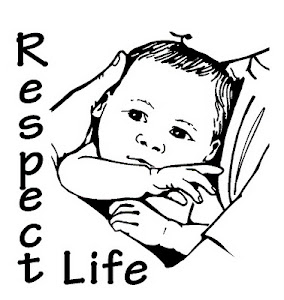 Baby being held with label Respect Life