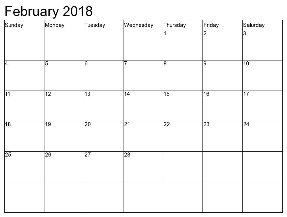 blank february calendar
