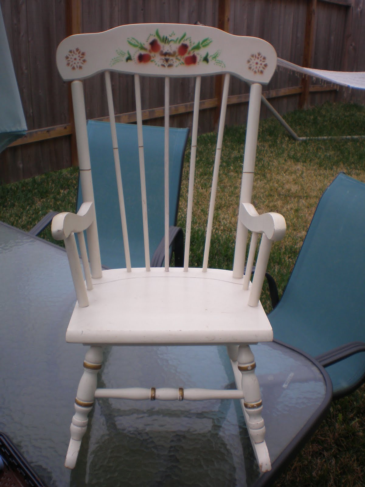 Brown turquoise diy baby rocking chair