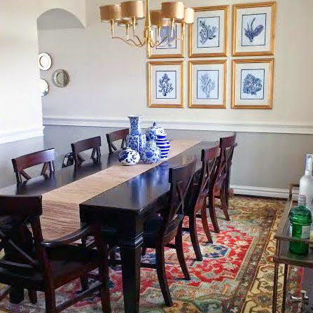 Dining Room, Ginger Jars, Coral Navy Prints, Aaron Chair Pottery Barn, Montego Collection Table