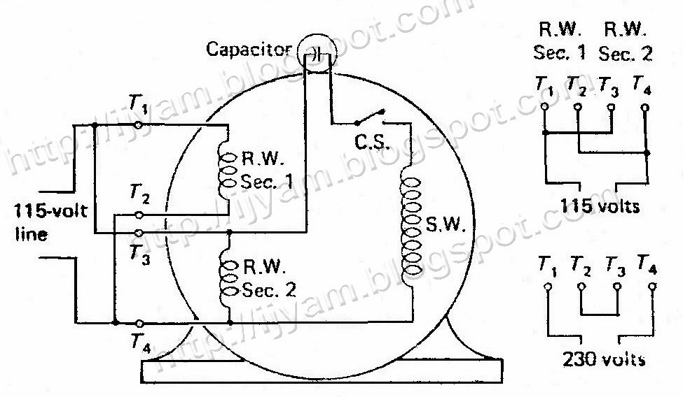 Electrical control circuit schematic diagram of capacitor start dual voltage non reversible capacitor start motor swarovskicordoba Images
