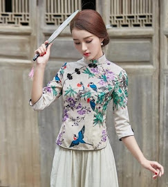 2018 7-Design Half Sleeve Cheongsam Top