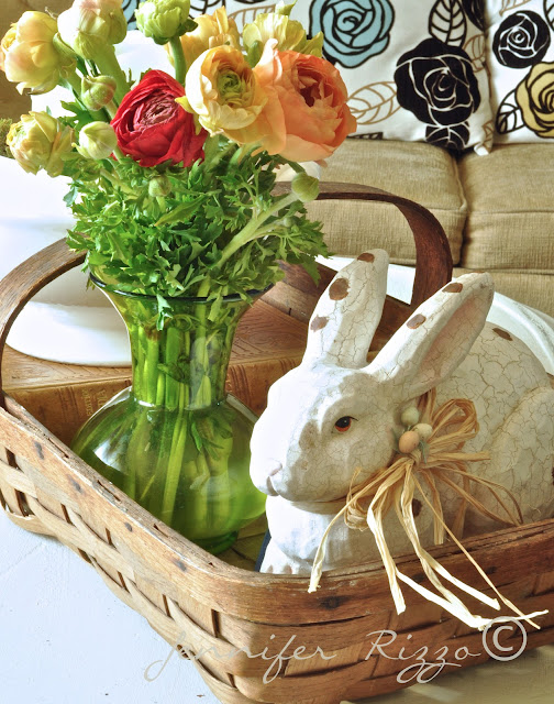 flowers, easter, bunny, decor, basket