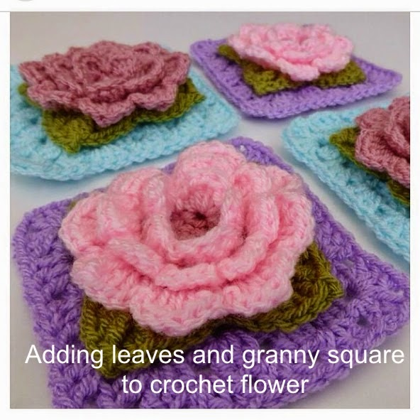 Adding leaves and granny square to crochet flower