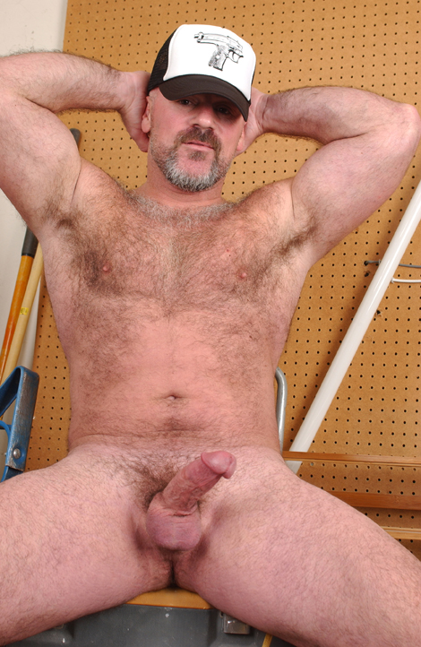 Hairy bear Bronson Gates jerks off