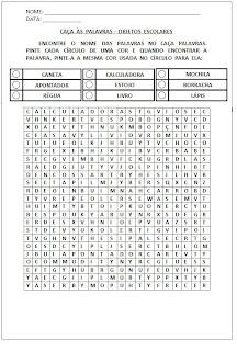 Atividades para Alfabetização - Caça-palavras objetos escolares