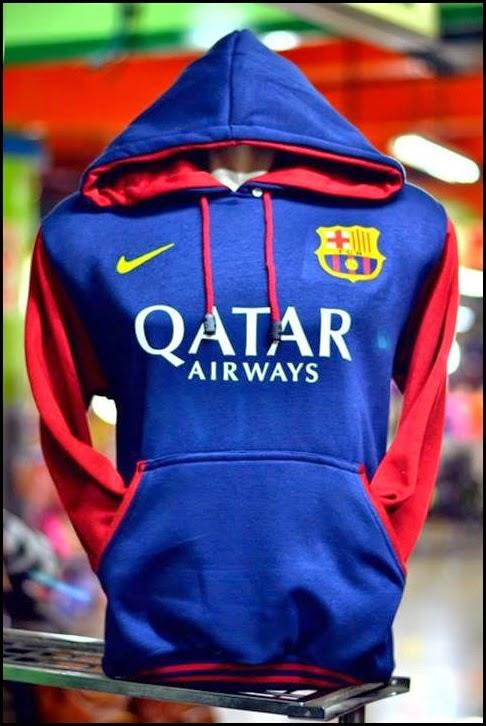 New Jumper Hoodie Bola Kombinasi 2014 - 2015 Barcelona (biru kombinasi merah)