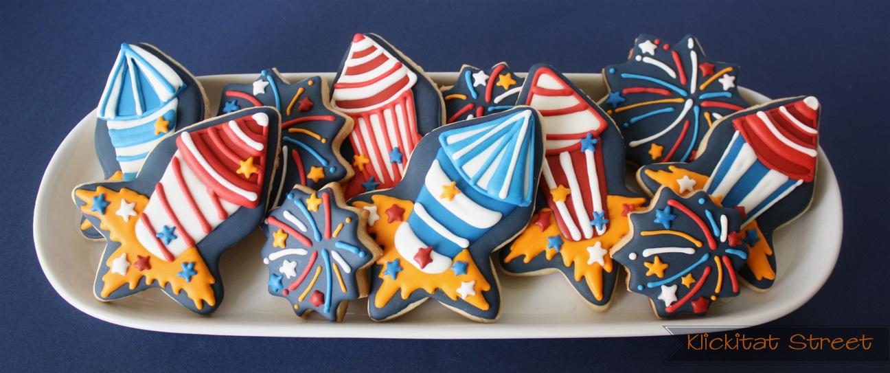 fireworks and firecracker cookies platter