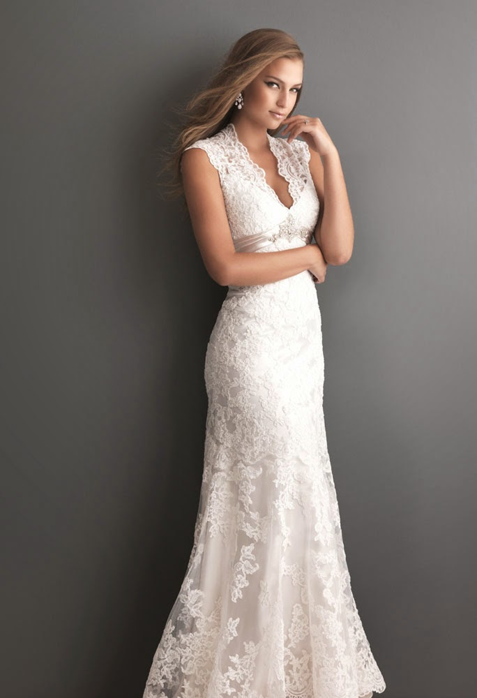 Allure Long Wedding Dresses with Cap Sleeves 2014 Design pictures hd