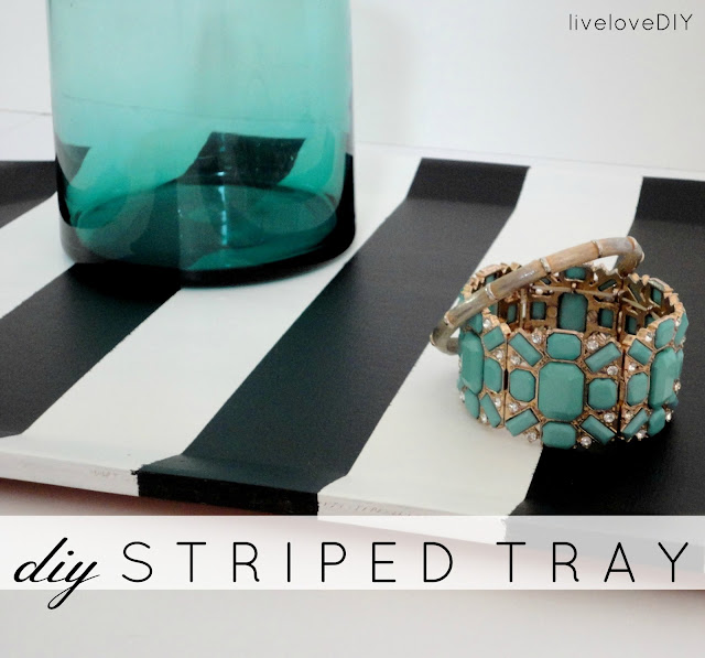 DIY Black & White Striped Tray: a simple tutorial that shows you how to turn any simple tray into a chic statement piece!