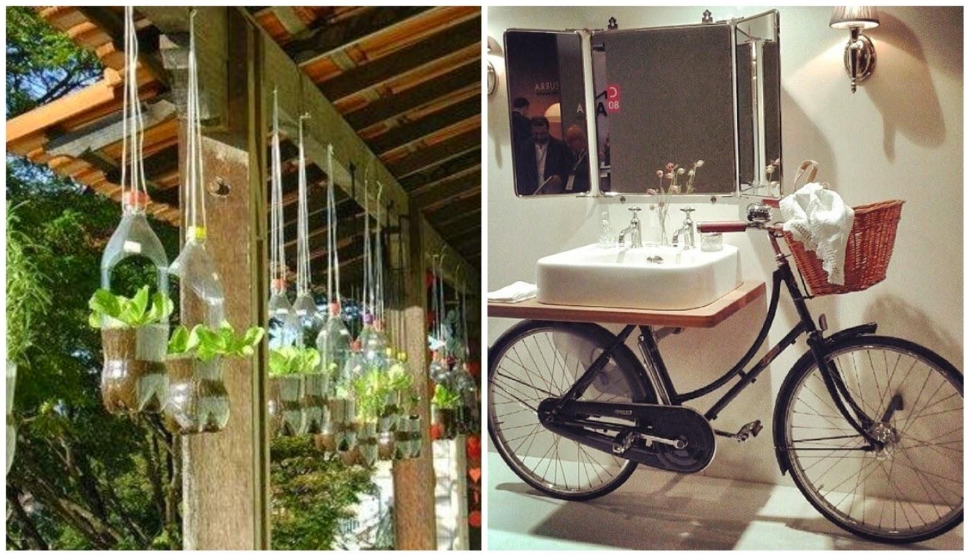 garrafa PET servindo de vaso e bicicleta servindo de apoio para cuba de banheiro - novos usos para velhos objetos