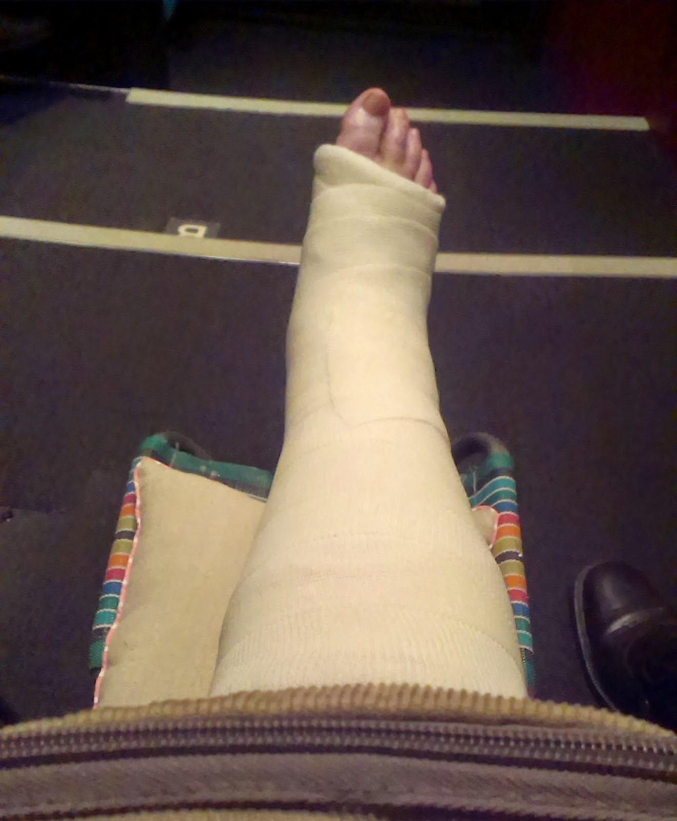My broken ankle watching a show at the Bristol Old Vic