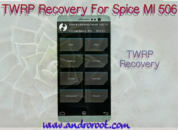 Custom Recovery (TWRP) for SPICE Mi 506 Steller Mettle icon