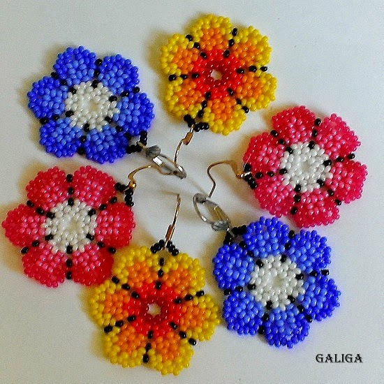 flower seed bead earrings - round colorful earrings - huichol style earrings