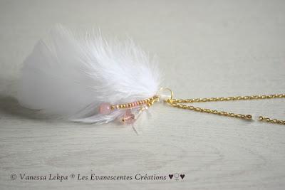 bijoux attrape rêves plumes blanche hippie  bohème fait main