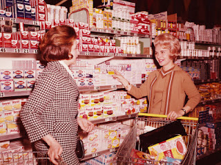Grocery shopping, circa 1970