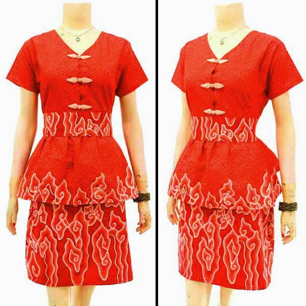 DB3782 Model Baju Dress Batik Modern Terbaru 2014