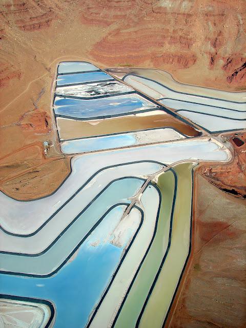 """Evaporation Ponds"" by Jesse Varner - Moab, Utah - blue colored pools in the desert, aerial photography"