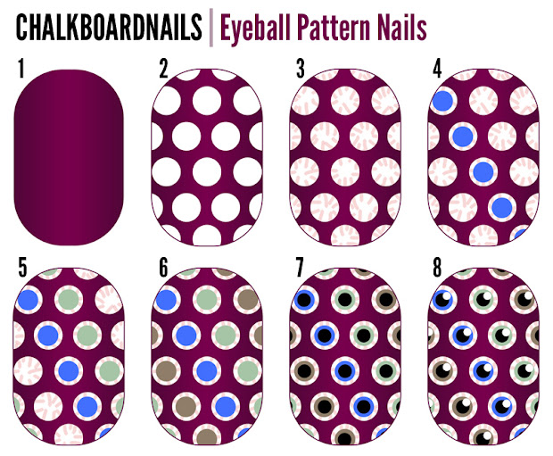 eyeball pattern nails tutorial