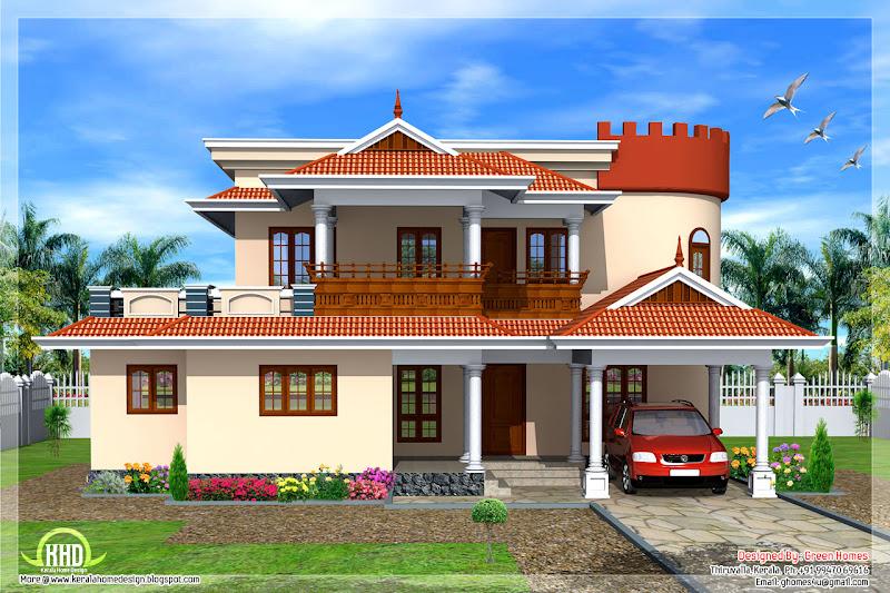 Keral model 5 bedroom luxury home design title=