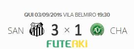 O placar de Santos 3x1 Chapecoense pela 22ª rodada do Brasileirão 2015