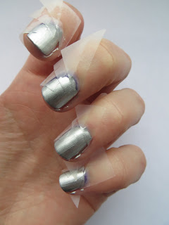 Barry M Silver Foil Scotch tape manicure