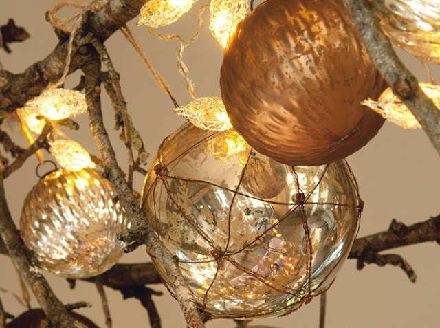 Mercury Glass Ornaments via Art et Decoration as seen on linenandlavender.net