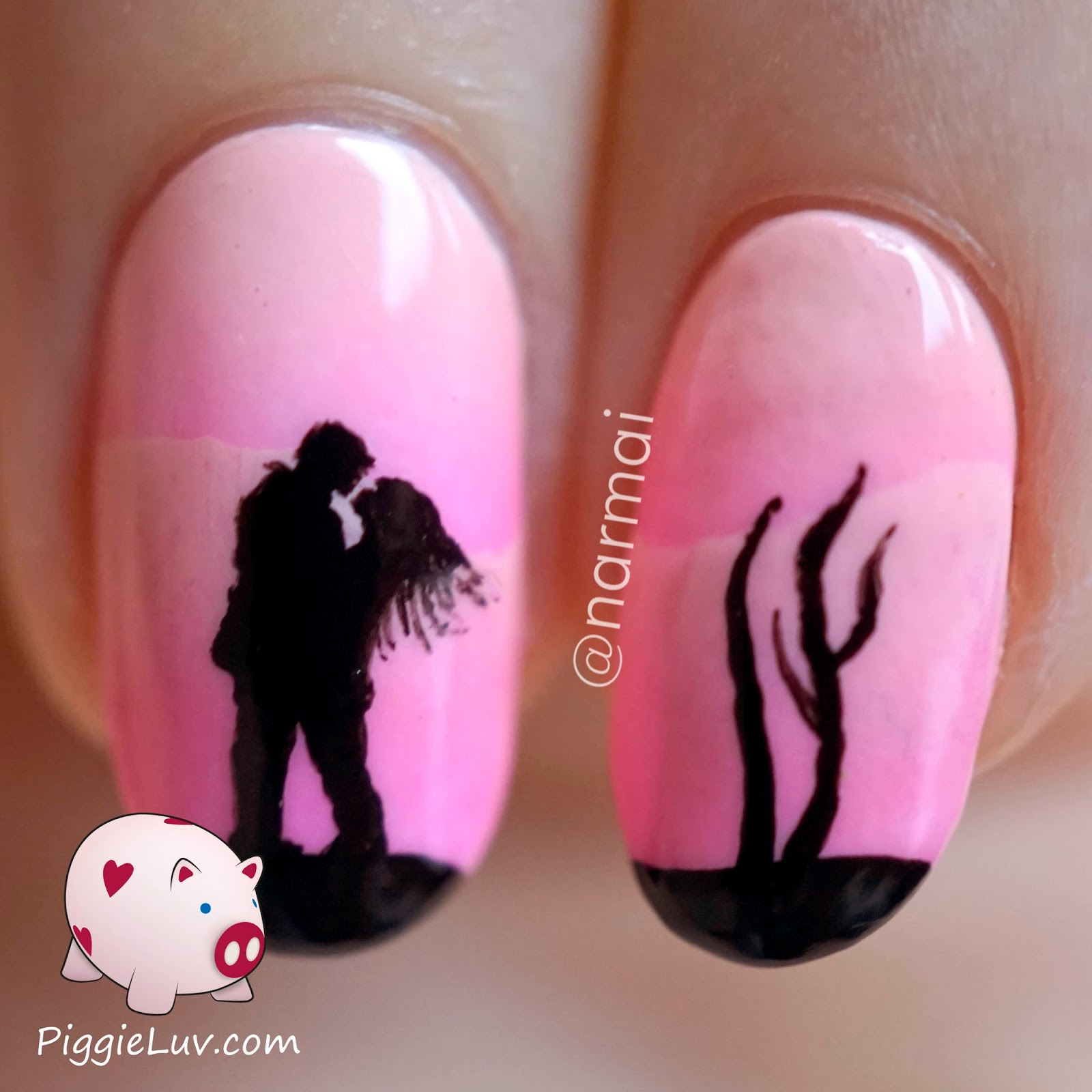 PiggieLuv: Pink scaled gradient with freehand silhouette nail art