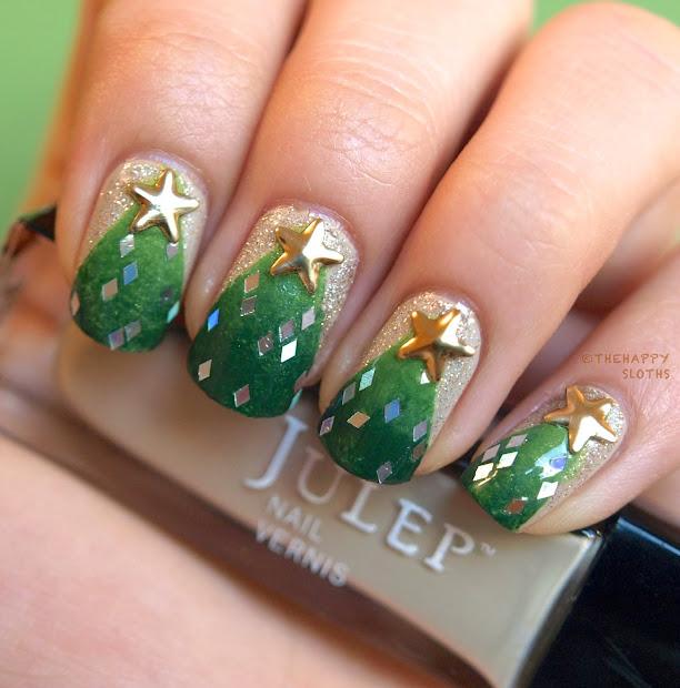 christmas tree manicure nail polish