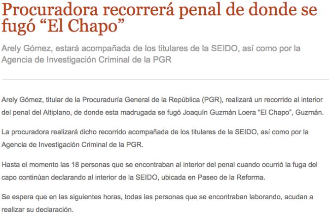 "RECOPILACIÓN DE NOTICIAS >""Ya me cansé huevones, me voy""Se fuga el Chapo del Penal Altiplano I  Screen%2BShot%2B2015-07-12%2Bat%2B12.43.33"