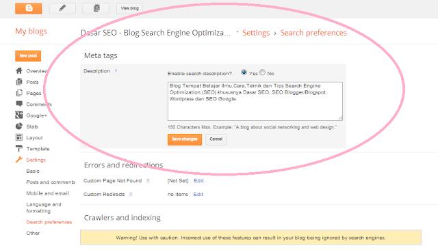 Teknik SEO Blogspot - SEO Blogger untuk Menambahkan Meta Tag Description Blog