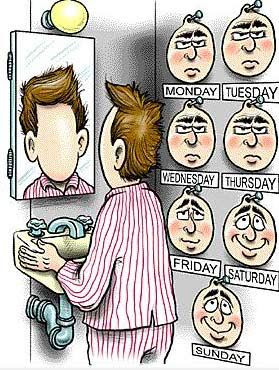 funny pictures, days of the week, cartoon, moods