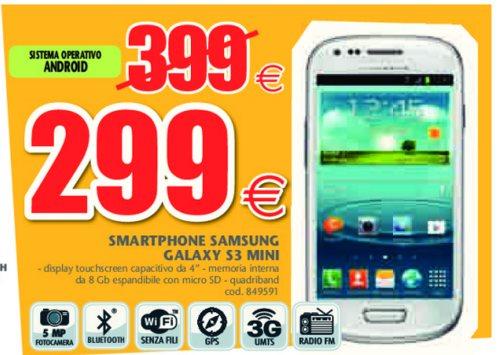 Prezzo scontato per lo smartphone jelly bean Galaxy S 3 mini di Samsung ad un prezzo di 299 euro