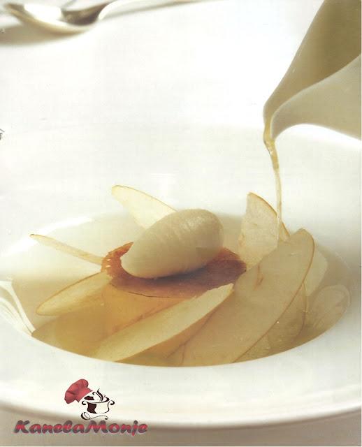 Crema catalana con sopa de manzana