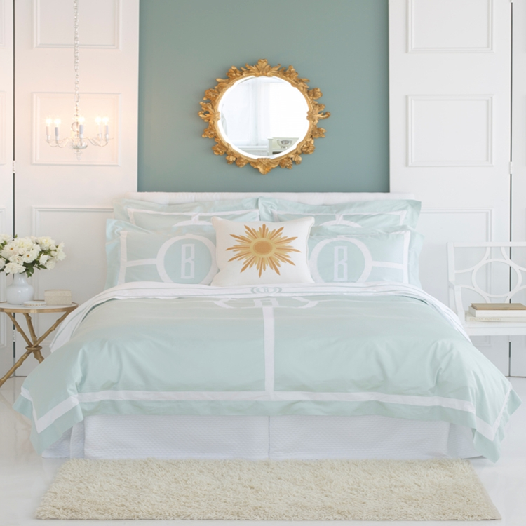 love this unusual minty sea foam green set with its fresh white