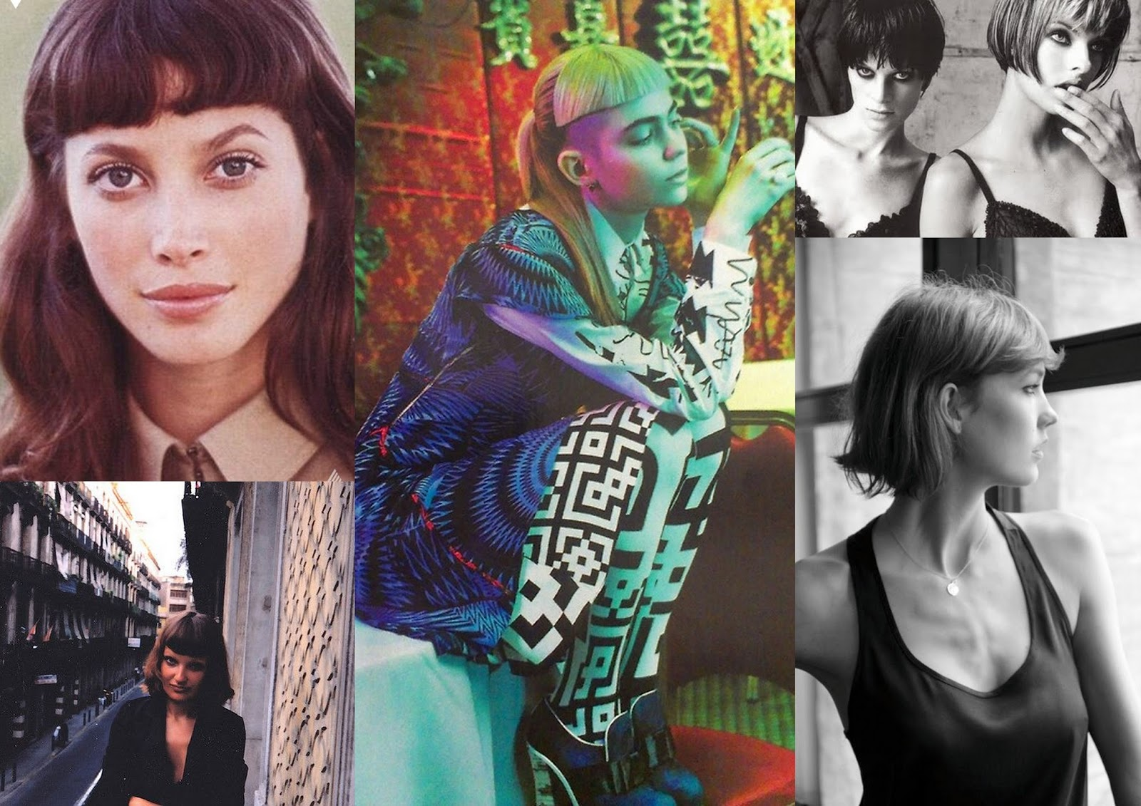 Christy Turlington hair, Grimes hair styles, Karlie Kloss hair style, Linda Evangelista bob, Short fringe hairstyles, Nineties hair