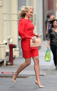 Cameron Diaz Pictures in Red Short Dress on the set of