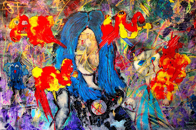 """""""I'm a Little Intense"""" Acrylic, Ink & Pastel on Canvas  by Penelope Przekop"""